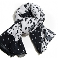 Quality Leopard Print Scarf Shawls Women Winter Warm Cashmere Panties 180*30CM - Black