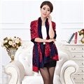Quality Leopard Print Scarf Shawls Women Winter Warm Cashmere Panties 180*30CM - Red