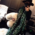 Quality Leopard Print Scarf Shawls Women Winter Warm Cashmere Panties 180*70CM - Green