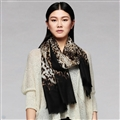 Quality Leopard Print Scarf Shawls Women Winter Warm Wool Panties 200*70CM - Brown