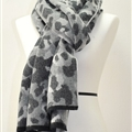Quality Leopard Print Scarf Shawls Women Winter Warm Wool Panties 221*50CM - Grey