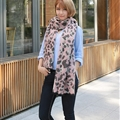Quality Leopard Print Scarf Shawls Women Winter Warm Wool Panties 221*50CM - Pink