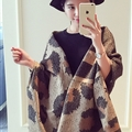 Unique Fringed Leopard Print Shawl Wrap Women Winter Warm Wool Panties 195*68CM - Brown