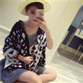 Unique Leopard Print Scarf Shawls Women Winter Warm Wool Panties 200*60CM - Black