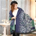 Unique Leopard Print Scarves Wrap Women Winter Warm Cashmere 200*65CM - Blue