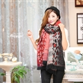 Unique Leopard Print Scarves Wrap Women Winter Warm Cashmere 200*65CM - Red
