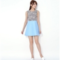Beautiful Dresses Fall Ladies Leopard Print Zipper Bowknot - Blue