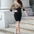 Bodycon Dresses Spring Girls Tunic Knitted Long Sleeve Leopard Print - Black Brown