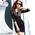 Bodycon Dresses Spring Girls Tunic Ruffle Hollow Long Sleeve Leopard Print Lace - Black