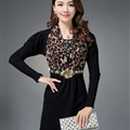 Classy Dresses Winter Ladies Leopard Print Tunic Sweater Knitted - Black