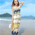 Cute Dresses Summer Girls Affordable Flower Bohemian Coast Chiffon Long - Blue White