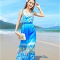 Cute Dresses Summer Girls Affordable Flower Bohemian Coast Chiffon Long - Blue