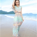 Cute Dresses Summer Girls Affordable Flower Bohemian Coast Chiffon Long - Cyan
