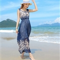 Cute Dresses Summer Girls Affordable Flower Bohemian Coast Chiffon Long - Navy Blue