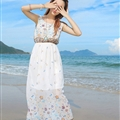 Cute Dresses Summer Girls Affordable Flower Bohemian Coast Chiffon Long - White