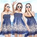 Cute Dresses Summer Girls Affordable Flower Bohemian Coast Chiffon - Navy
