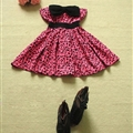 Cute Dresses Winter Ladies Printed Leopard Print Bowknot Short Strapless - Rose