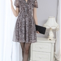 Dresses Summer Girls Silk Printed Lantern Sleeve Leopard Print Plus Size - Coffee