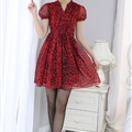 Dresses Summer Girls Silk Printed Lantern Sleeve Leopard Print Plus Size - Red