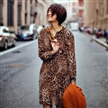 Elegant Dresses Fall Leopard Print Women Long Sleeve Ruffle - Coffee