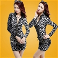 Elegant Dresses Winter Leopard Print Women Long Sleeve Bodycon Zipper - Grey