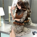 Elegant Dresses Winter Leopard Print Women Long Sleeve Ruffle Chiffon - Brown