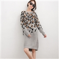 Elegant Dresses Winter Leopard Print Women Long Sleeve Shift Plus Size - Grey