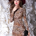 Elegant Dresses Winter Leopard Print Women Long Sleeve - Yellow