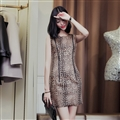 Elegant Dresses Winter Leopard Print Women Long Sleeve Zipper Waist - Coffee
