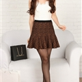 Fashion Dresses Ladies Leopard Print Knitted Semi Ruffle - Brown