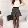 Fashion Dresses Ladies Leopard Print Knitted Semi Ruffle - Grey