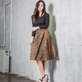 Fashion Dresses Ladies Leopard Print Sexy Knee Length Semi Leather - Brown