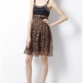 Fashion Dresses Summer Ladies Leopard Print Chiffon Sexy Knee Length - Brown
