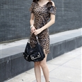 Fashion Dresses Summer Ladies Leopard Print Tunic Classy Short Knitted - Brown