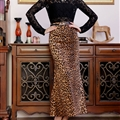 Fashion Dresses Winter Ladies Leopard Print Sexy Long Semi - Brown
