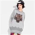 Fashion Dresses Winter Ladies Leopard Print Three-Quarter Sleeve Knitted House - Grey