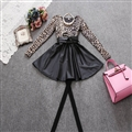 Fashion Dresses Women Winter Leopard Print Leather Long Sleeved - Grey