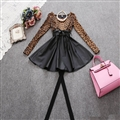 Fashion Dresses Women Winter Leopard Print Leather Long Sleeve - Yellow