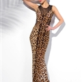 Fashion Dresses Women Winter Leopard Print Long Backless Tunic - Brown