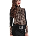 Funky Dresses Female Winter Leopard Print Lace Sexy Long Sleeved - Black