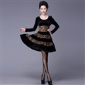 Funky Dresses Winter Ladies Leopard Print Velvet Knee Length - Black