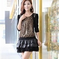 Funky Dresses Winter Ladies Ruffle Leopard Print Printed Chiffon - Black