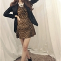 Funky Dresses Women Winter Leopard Print Knee Length Sexy Glamorous - Brown