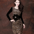 Mature Dresses Spring Women Knee Length Velvet Leopard Print Plus Size - Brown