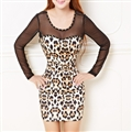 Sexy Dresses Fall Female Printed Long Sleeve Leopard Print Short - White