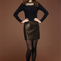 Sexy Dresses Fall Ladies Leopard Print Leather Classy Short Semi Plus Size - Gold