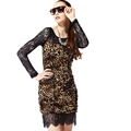 Sexy Dresses Fall Short Ladies Leopard Print Printed Lace - Brown