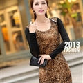 Sexy Dresses Fall Women Printed Long Sleeve Leopard Print Short - Coffee