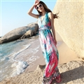 Sexy Dresses Summer Girls Backless Printed Leopard Print Floor Length Bohemian - Pink