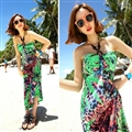Sexy Dresses Summer Girls Strapless Printed Leopard Print Floor Length - Green